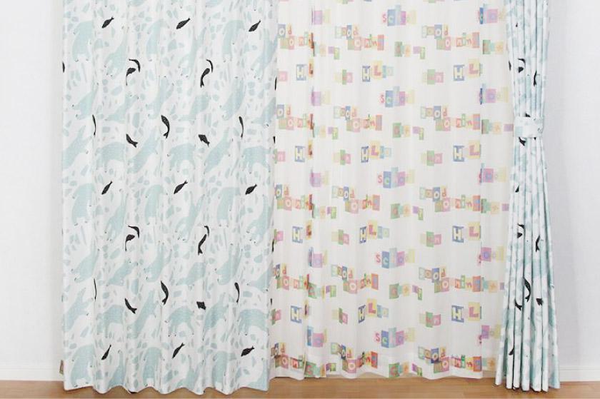 白地にしろくまプリントが可愛いカーテン