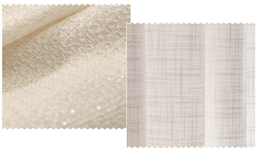 生地アップ。ラメ糸が織り込まれた上品なナチュラルオーダーカーテン