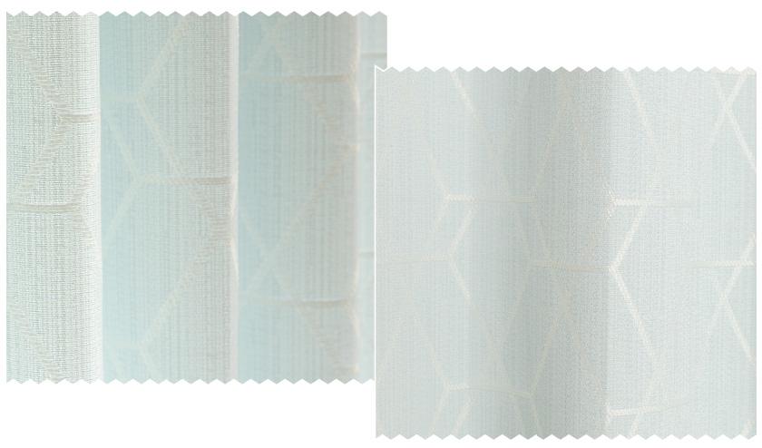 薄いグリーンの生地に幾何学模様をジャガードで表現した遮光オーダーカーテン