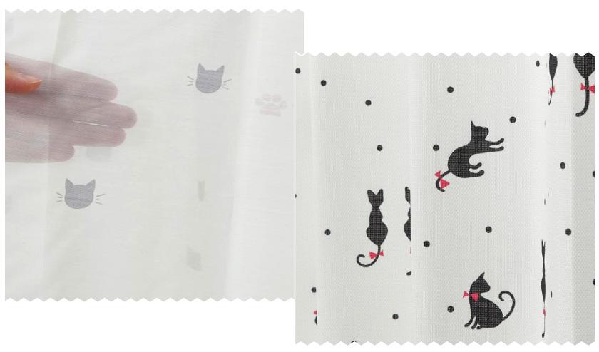 黒猫が描かれたねこ好きにおすすめの、ドレープとレースがセットになった既製4枚セットカーテンです