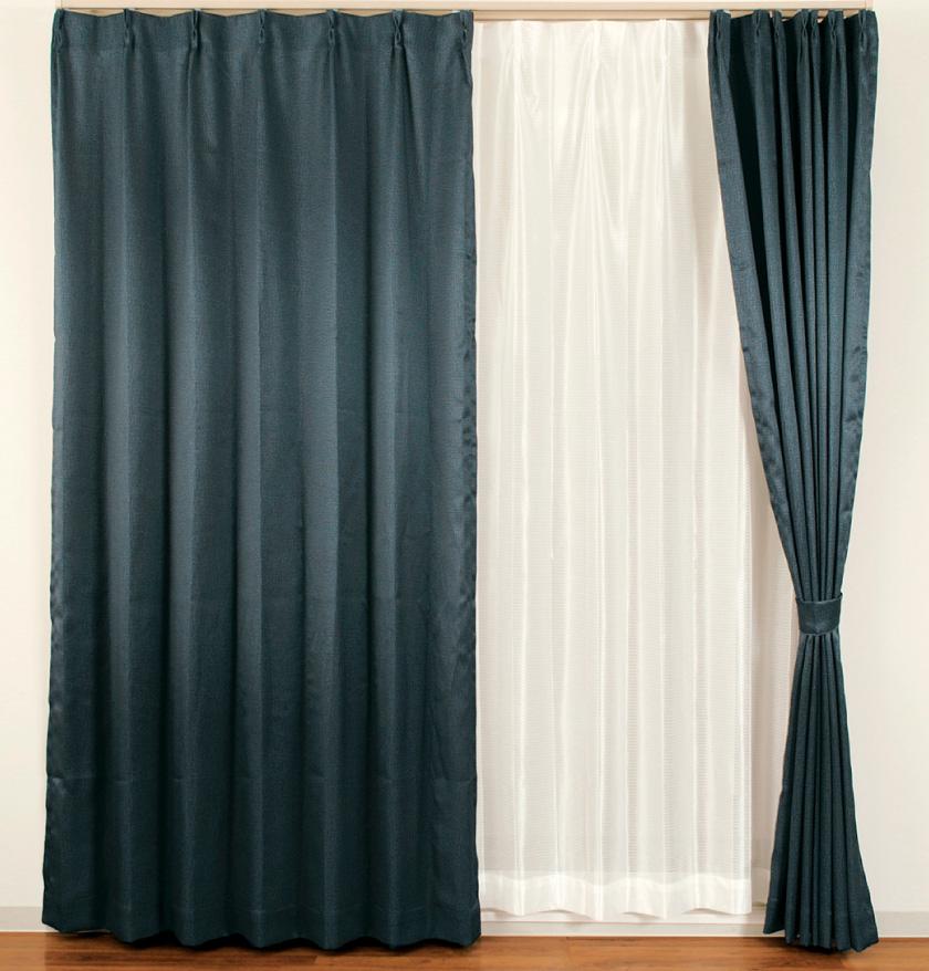デニム風生地の人気の無地格安既製4枚セットカーテン