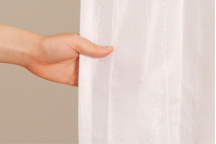波柄の格安既製ミラーレースカーテン。UVカット、遮熱機能がついています