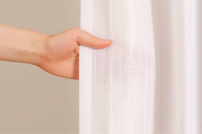 ストライプ柄の格安既製ミラーレースカーテン。UVカット、遮熱機能がついています