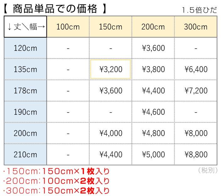 ベーシックカーテン価格表