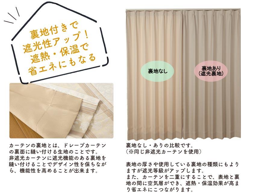 遮光性を高める、遮熱・保温性が高まる裏地付きカーテン