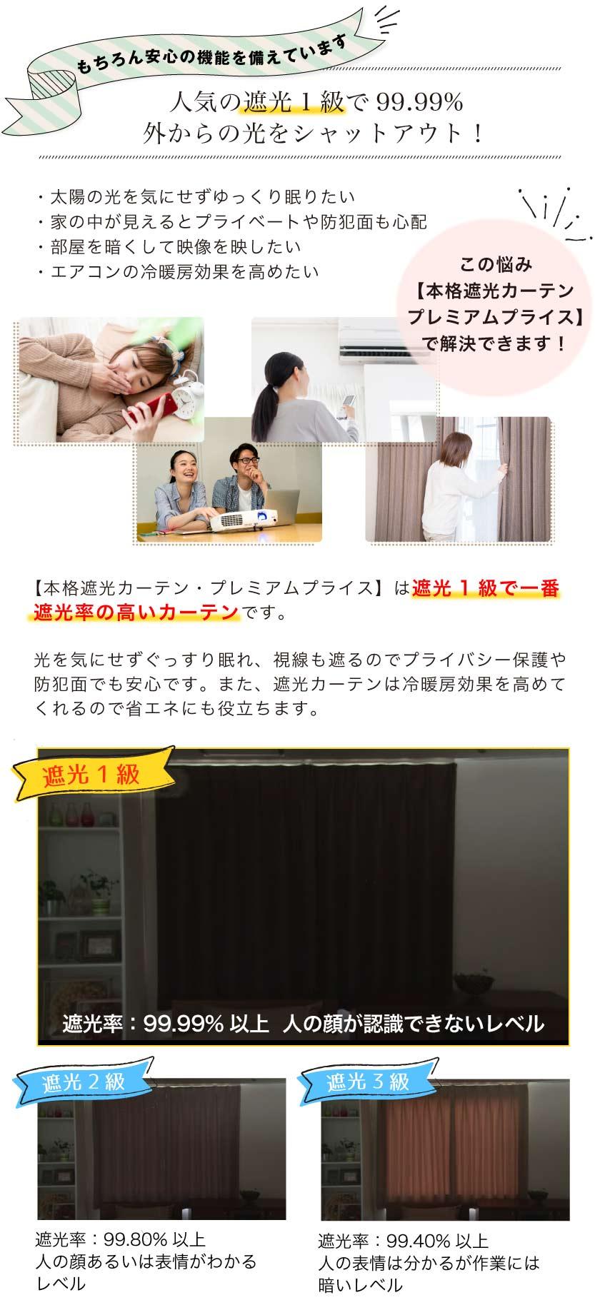 人気の遮光1級カーテンは99.99%光を遮断します。
