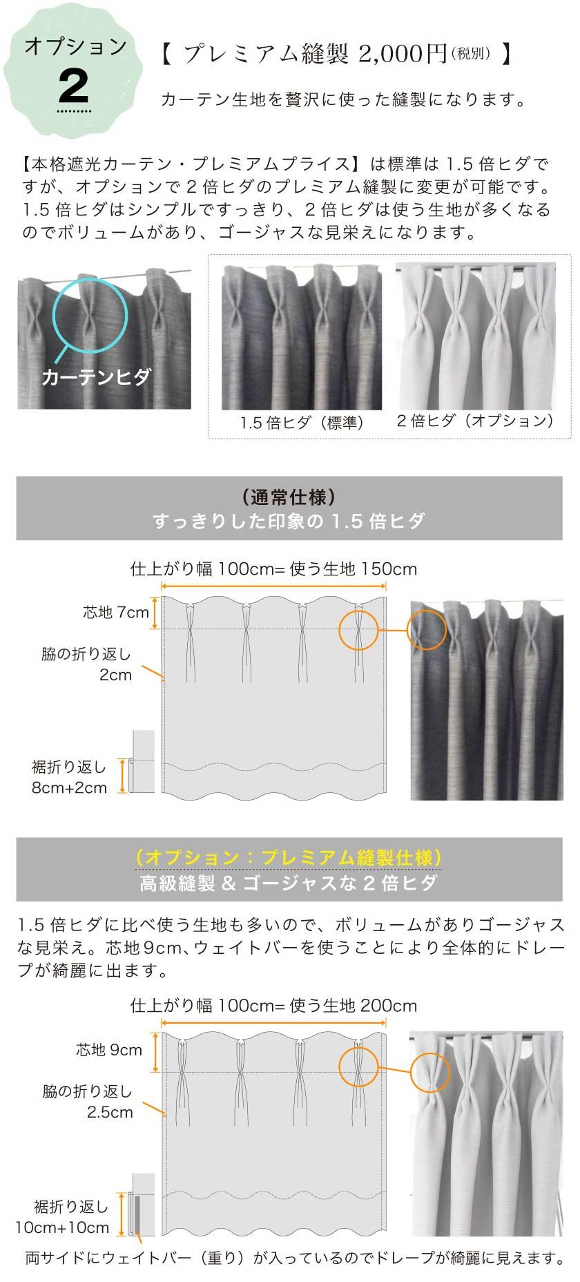 オプションでカーテンヒダ2倍のプレミアム縫製に変更できます