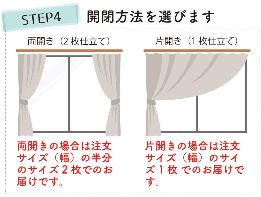カーテンの採寸方法 開閉方法