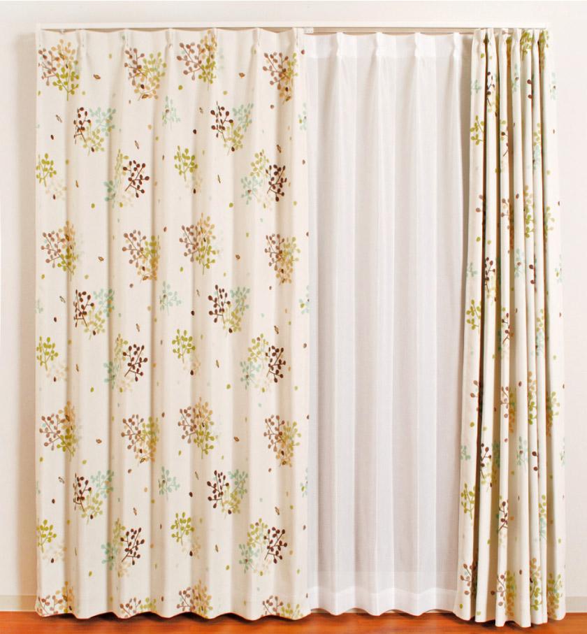 北欧風 リーフとハチのかわいいカーテン 子供部屋にもおすすめ