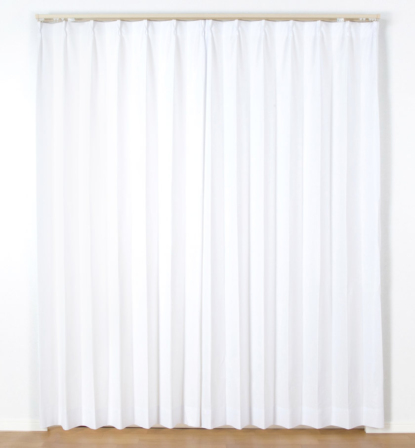 遮熱・防炎・UVカット・花粉アレルゲン抑制・昼夜みえにくい高機能5つ星ストライプレースカーテン