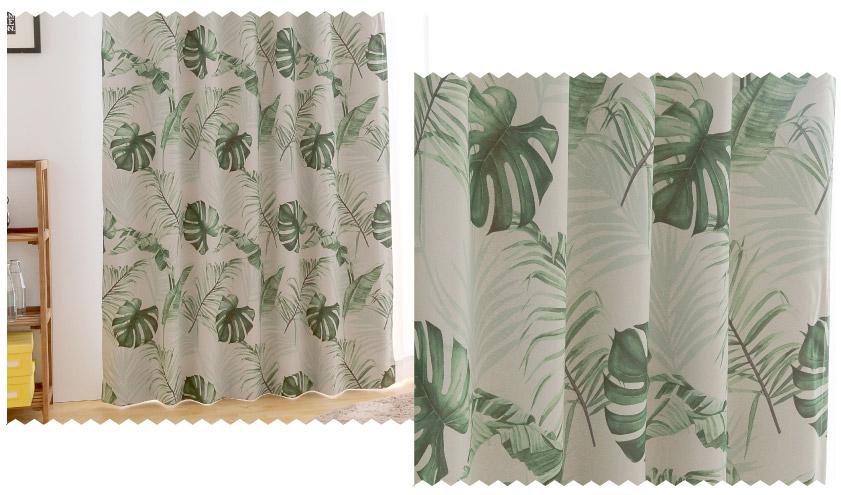 モンステラプリントが爽やかな人気のハワイアンテイストカーテン